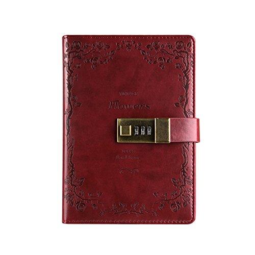 saibang PU Leder Tagebuch Schreiben Notebook, Fashion Tägliche Notizblock mit Zahlenschloss, Kartenfächer, Stifthalter, B6 Größe Passwort Tagebuch für Männer und Frauen weinrot