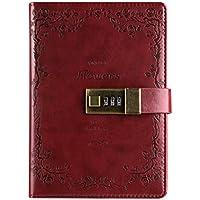 Diario in pelle PU saibang block-notes, Fashion Daily taccuino con serratura a combinazione, carte di (Vintage Wine Journal)