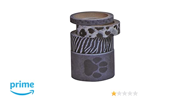 Kleiber 5// 10// 15// 25 mm Grey Paw Prints Coloured Adhesive Sticky Tape for Wrapping// Decoration Pack of 4 Rolls