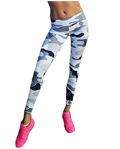 CuteRose Womens Camouflage Color Bodycon Floral Tribal Yoga Running Pants S Grey (Floral Pants Capri Cropped)