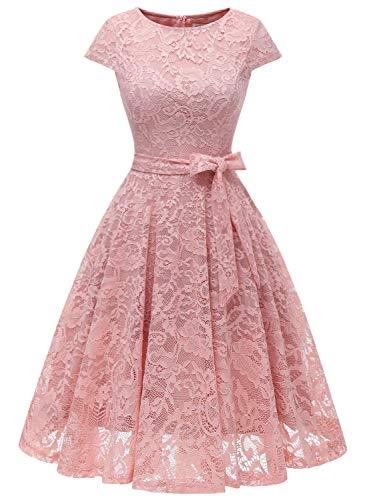 MuaDress 6008 Cocktailkleid Knielang Cape Ärmel Spitzen Brautjungfernkleid Floral Elegant Blush L