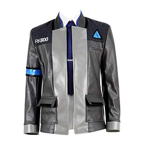 Cosplay Connor Kostüm - IDEALcos Werden Sie Mensch Hemd Jacke Halloween Connor Cosplay Kostüm Full Set für Männer (S, Grau)