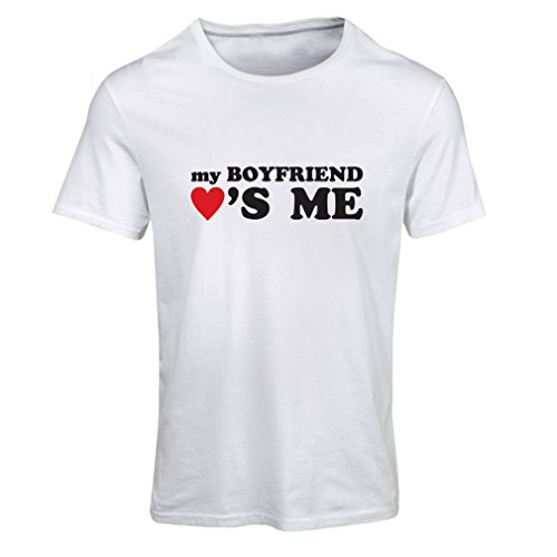 Frauen T-Shirt Mein Freund liebt mich! Geschenke für deine Freundin für Valentinstag (Small Weiß (Ungewöhnliche Paare Kostüme)