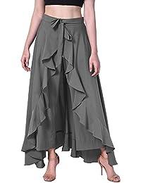 Poshak American Crepe Grey Solid Women's Layered/Ruffle Grey Palazzo With One Waist Tie Band And Side Zipper.