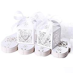 Idea Regalo - JZK 50 Perlato bianco cuore scatolina portaconfetti scatola bomboniera segnaposto per matrimonio compleanno battesimo comunione nascita Natale