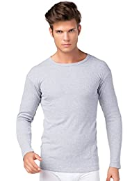 Camiseta de interior de esquí de hombre de manga larga con interior de forro polar de algodón de stylenmore