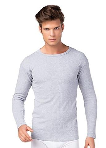 Herren Thermo Unterhemd Langarm innen angeraut Baumwolle stylenmore Farbe grau, Größe XXL