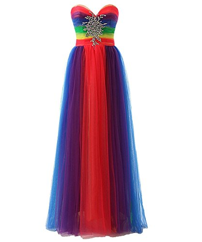 JAEDEN Donna Senza spalline Tulle Abiti da ballo lungo Vestito da sera Vestito da partito Multicolore