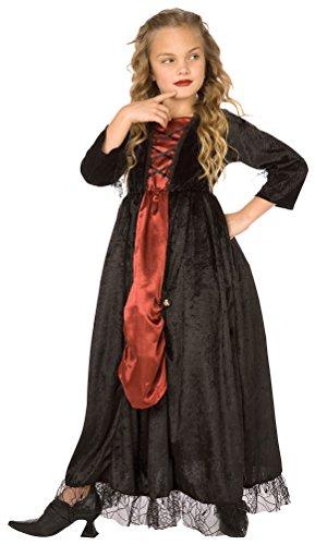 m Vampir Mädchen-Kostüm rot schwarz Halloween Größe 128 (Vampirella Halloween-kostüm)