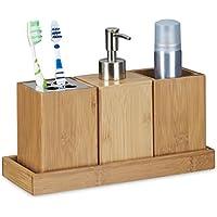 Relaxdays – Set conjunto de 4 piezas para el cuarto de baño, bambú, 18.5 x 25 x 10.5 cm, Soporte de cepillo de dientes, dispensador de jabón, vaso, natural, color natural