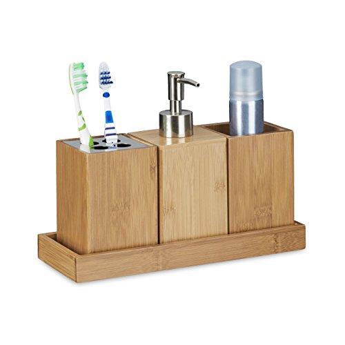 Relaxdays Bad-Accessoires-Set 4-teilig, Bambus, Zahnbürstenhalter, Seifenspender, Seifenablage, Behälter,natur