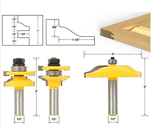 Akuta Akuta Akuta 3pcs 1 5,1 cm gambo rail & stile Ogee lama cutter panel cabinet frese set | Ricca consegna puntuale  | Area di specifica completa  | Design ricco  48d7cc
