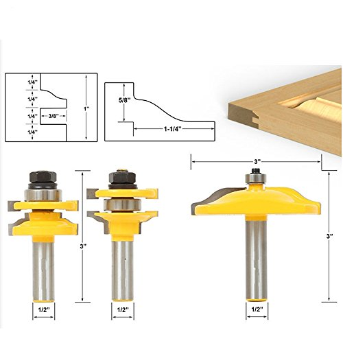 AKUTA 31/5,1cm Schaft Schiene & Stil Ogee Blade Cutter Panel Schrank Router Bits Set (1 Panel Schiene)