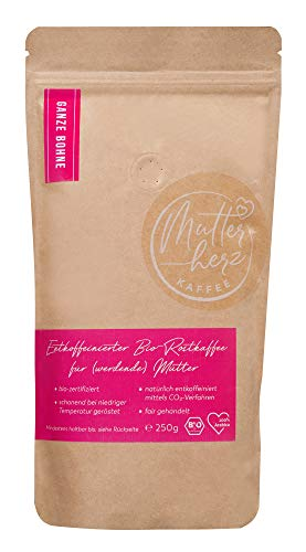 MUTTERHERZ KAFFEE - Kaffee ideal für Schwangere und stillende Mütter - CO² entkoffeiniert - Bio - 100{f326ba5efe0b5ba6f2c1a39f646e8d98747b1d5b72c60703da840bfb6334b0c1} Arabica - schonend in Deutschland geröstet - ganze Bohne (250 Gr) - Kaffeevollautomaten geeignet