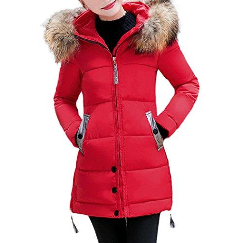 Damen Lange Parka Winter Warme Outwear Jacke Mantel Pelzkapuze (Red, XXXL) (Gefütterter Wolle-mischung)