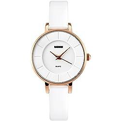 Fashion Luxury Leather Strap Quartz Women Girl Wrist Watch,White