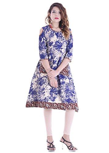 Palakh-Womens-Cotton-A-line-Indigo-Print-Kurti-Blue