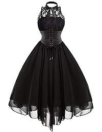 999ba9f51 JJHR Vestido Vestidos De Fiesta Vestidos De Fiesta De Las Mujeres Góticas  Negro Cruz Volver Panel De Encaje Arco Corset Vestidos Vestido…