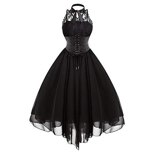 JJHR Kleider Gothic Damenkleid Kleider Partykleid Schwarzes Kreuz Zurück Spitze Panel Bogen Korsett Kleider Damenkleid (Korsett Ballkleid Kleider)