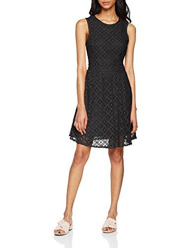 VERO MODA Damen Kleid Vmsimone Lace S/L Short Dress Noos, Schwarz (Black Black), 42 (Herstellergröße: XL)