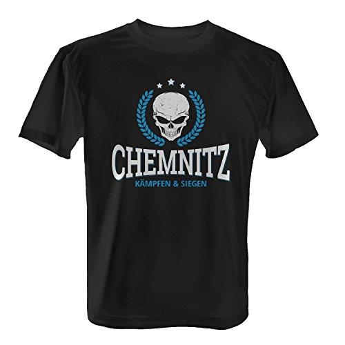 Fashionalarm Herren T-Shirt - Chemnitz Kämpfen & Siegen | Fußball Trikot Shirt mit Totenkopf & Ärenkranz Motiv als Geschenk Idee für Verein Fans, Farbe:schwarz;Größe:5XL