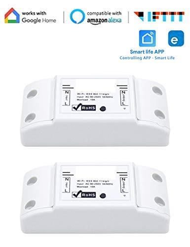 Intelligente Fernbedienung Wifi-Schalter Kompatibel Unterstützung Sprachsteuerung Einstellen Zeitplans mit Alexa Google Home IFTTT DIY Your Home über App Packung mit 2 Stück SPDYCESS