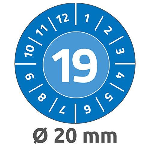Avery Zweckform 6945 Prüfplaketten (120 Prüfaufkleber, abziehsichere Folie, Jahreszahl 2019, Ø 20 mm, im praktischen Block) blau