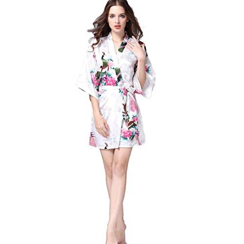 Pagacat Frauen Sexy V Ausschnitt Split Nachtwäsche Lace Trim Bow Lange Satin Nachthemd (Kleid Nachthemd Lace Trim Langes)