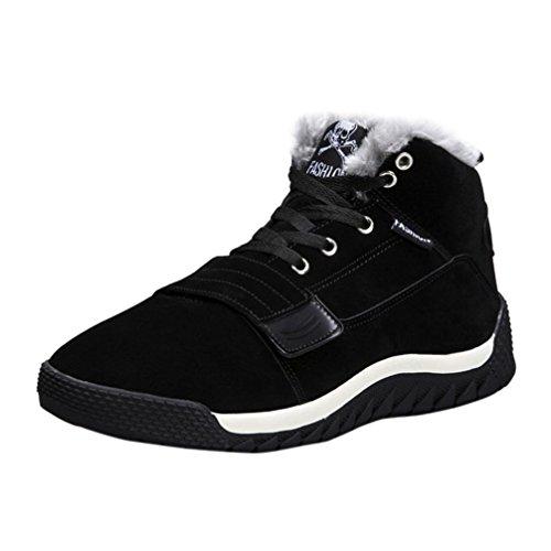 Stiefeletten Herren Btruely Männer Knöchel Schneestiefel Verdickung Männer Freizeitschuhe Hoch oben Schuhe Junge Wanderstiefel Schuhe Plüsch Outdoor Arbeitsschuhe (42, Schwarz)