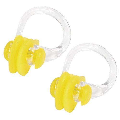 Nasenklemme - TOOGOO(R) Gelb Klar Gummi Tauchen, Schwimmen Schwimmen Nasenklammer Schutz 2 Stk.