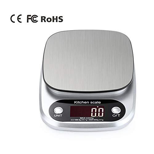 Piattaforma in acciaio inossidabile, bilancia da cucina per cucina, bilancia elettronica multifunzione digitale per alimenti, per polvere di caffè in polvere per spezie, 11lb / 5kg