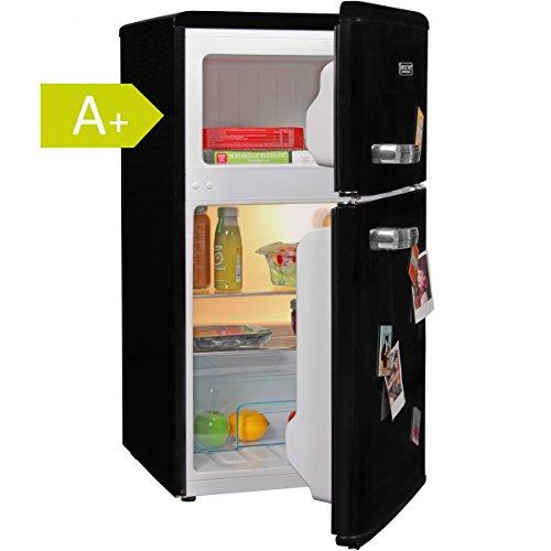 Schwarz Im Retro-design (Amstyle Design Retro Minikühlschrank 95L / 2-Türig mit separatem Gefrierfach / A+ / freistehend mit stufenloser Temperatureinstellung / schwarz)