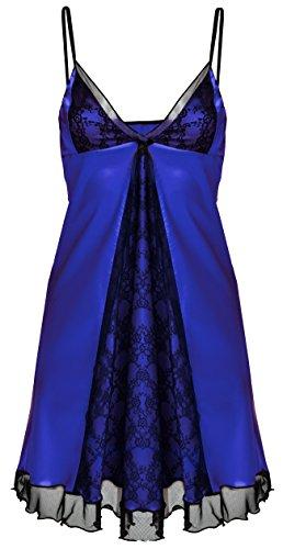 DKaren Mesdames Luxe Satin Sexy Nuisette Nuisette Chemise de nuit Lingerie - Helen Bleu Profond