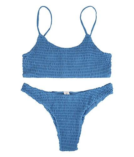 Magic Zone Damen Sexy Bikini Set Bademode Einfarbiger Badeanzug Triangel Zweiteilige Strandkleidung Oberteil Badebekleidung, Blau, L