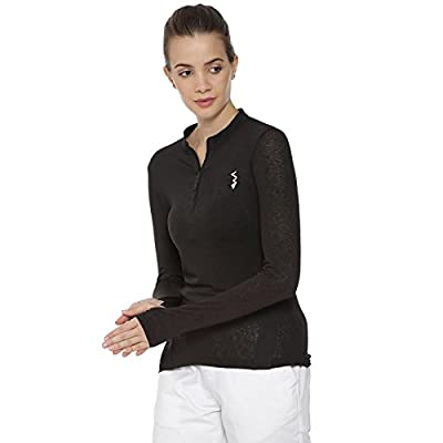 Campus Sutra Solid Women Mandarin Collar Black Sports Jersey