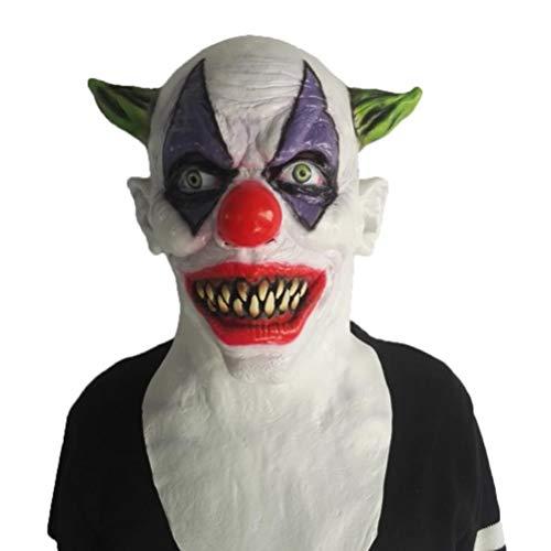 Horror Maske Kopfbedeckung Thriller Film Thema Ball Requisiten Halloween Lustige Teufel Zombie Grün Horn Clown Halloween ()