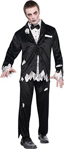 Halloweenia - Herren Kostüm Zombie- Geist- Gespenst, Schwarz, Größe S