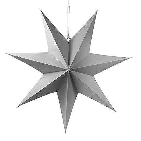 2 Frau Wundervoll Faltsterne matt grau, 40 cm, 7 Zacken Weihnachtsstern Papiersterne