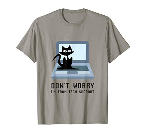 Don't Worry I'm From Tech Support Cute Cat Owner On Computer T-Shirt Mens Tech Support