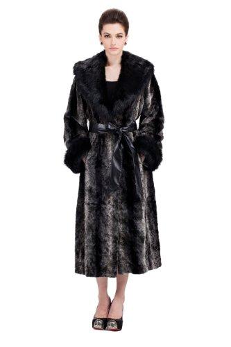 Ovonzo Mujeres de longitud completa falso visón abrigo de pieles con cuello...