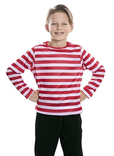 EUROCARNAVALES Camiseta Rayas Rojas Blancas niños