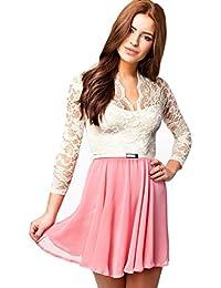 John Zack ASOS - corto vestido de encaje crema/Rosa