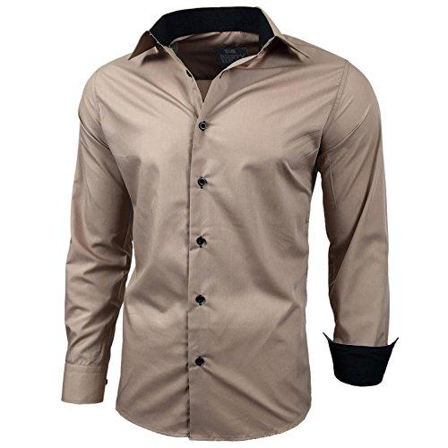 Kontrast Business Anzug Freizeit Polo Slim Fit Figurbetont Hemd Langarmhemd R-44, Farbe:Beige;Größe:3XL
