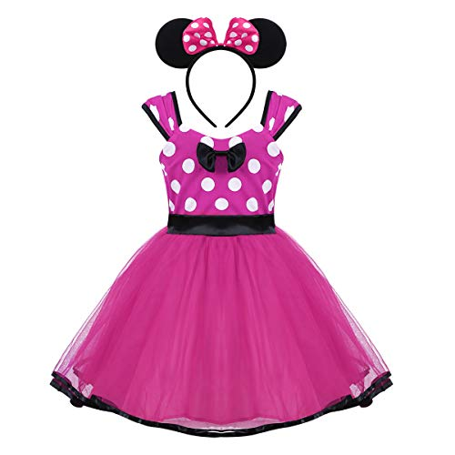 Agoky Baby Mädchen Kostüm mit Haarreif Prinzessin Kleid Maus Ohren Polka Dots Verkleidung Outfits Party Festzug Weinachten Karneval Fasching Geburtstag Rose Rot 12-18 Monate (Baby Halloween-kostüme Disney)