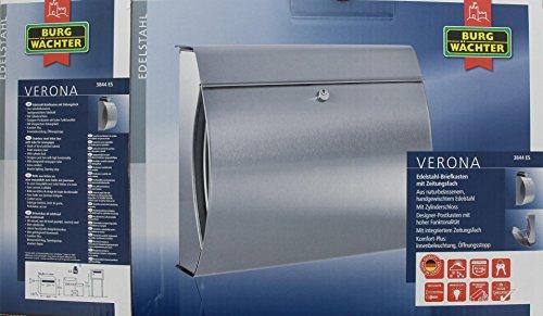 BURG-WÄCHTER, Edelstahl-Briefkasten mit integriertem Zeitungsfach, A4 Einwurf-Format, Edelstahl, Verona 3844 ES - 4