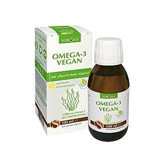 Omega-3 Vegan I NORSAN I pflanzliches Algenöl mit Zitronengeschmack I umweltschonend hergestellt I 100 ml Flasche I 2.000 mg Omega-3 pro Portion