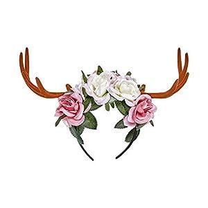 WIDMANN Srl cuernos Ciervo con flores para Adultos accesorios, Multicolor, wdm07792