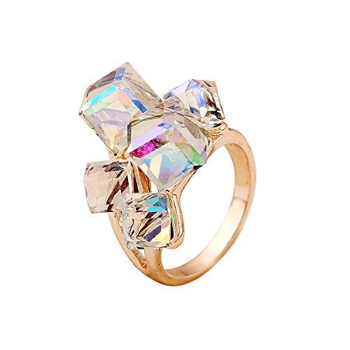 HOMEYU® Damen Kristall Cocktail Ringe Würfel Farbe ändern Grün und Weiß Österreich Crystal Cluster Amethyst Ringe (Grünen Crystal Amethyst)