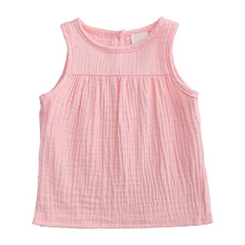 Sommer-Mädchen-Weste-Baby-Mode Kleinkinder Kinder ärmelBaumwollLeinenFest Tees Tops Weste T-Shirts