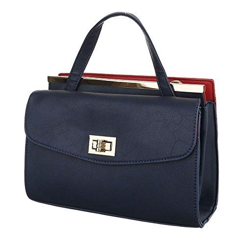 bc00527941780 iTal-dEsiGn Damentasche Kleine Schultertasche Handtasche Tragetasche  Kunstleder TA-A142 Blau Rot